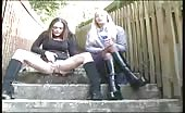 Brunette teen with big tits peeing outdoor