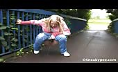 Blonde teen peeing in the streets