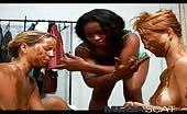 Black mistress feeding her lesbian slaves
