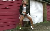 Blonde babe peeing in public