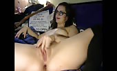 Brunette cam girl licking dirty anal beads