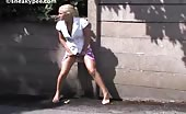 Beautiful blonde girl peeing
