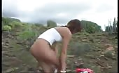 Sexy teen shitting outdoor