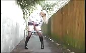 Blonde milf peeing in underpass