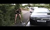 Blonde teen peeing outdoor