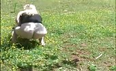 Blonde wife shitting outdoor