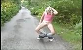 Blonde babe peeing outdoor