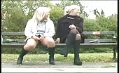 Two blonde girls peeing outdoor