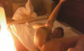 Teen boy masturbating with dirty dildo