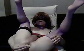 Old cross dresser masturbating with a dildo