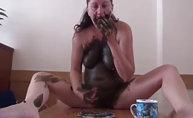 Perverted breakfast with horny woman