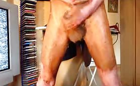 Skinny boy jerking off with saved old shit