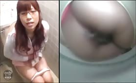Japanese nerd pooping on a toilet bowl cam