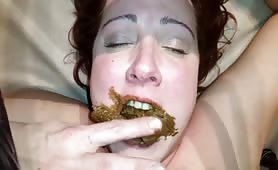 Redhead wife eating shit from her husband