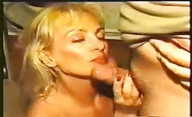 Vintage blonde MILF rubbing poop on her body