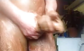 Hard masturbating with scat made him cum