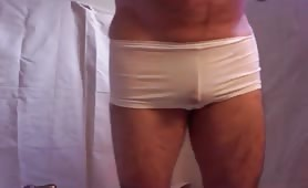 Taking a shit in white undies