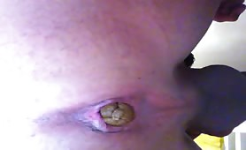 Creamy brown shit in close up from a gay guy