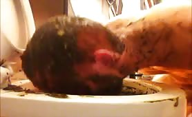 Horny man licking poop from a toilet