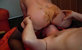 Husband licking shit from the nasty pussy of his wife