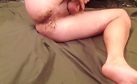 Shitty dildo fucking with a mature gay guy