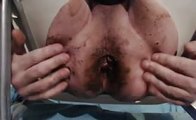 Big black dildo into his tight butthole