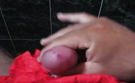 Stroking his small cock until he cums
