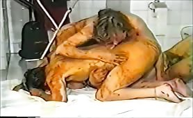 Scat orgy on bathroom floor