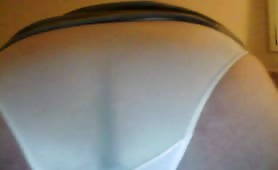 Chubby wife shitting in white panty