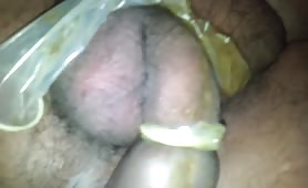 His cock in a nasty condom