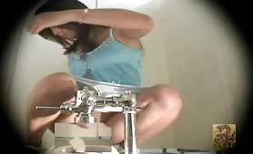 Brunette Japanese pooping in public bathroom