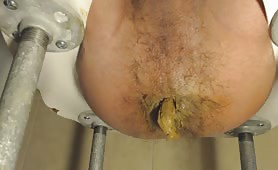 Anal penetration on a homemade toilet
