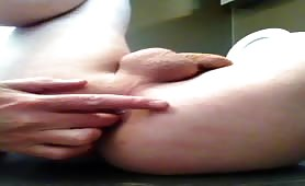 Fingering and dildoing his tight ass