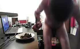 Shitting on a plate at the office