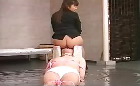 Feeding her male slave