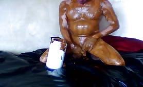 Rubbing creamy poop on his entire body