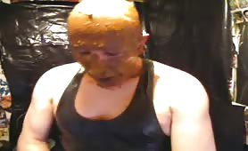 Bald guy has a shit mask