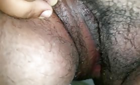 Hairy wife shitting