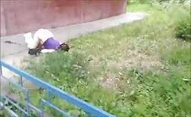 Drunk girl outdoor