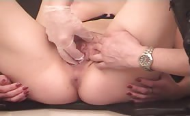 Perverse Gynecology pisses her in the mouth