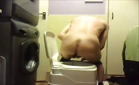 Drunk boy on the toilet