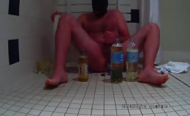 Drinking piss while wanking