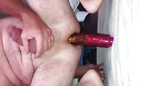 Big pink dildo in the ass