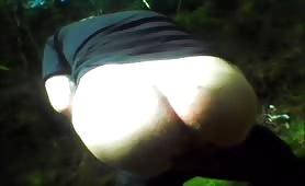 Shit near a big waterfall