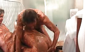 Russian Bisexual Threesome Bathing in Shit 1