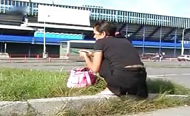 Pooping in her panties in public