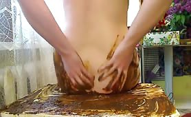 mega filthy bitch scat fucking her ass and pussy