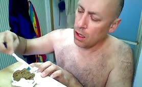 Hairy Guy Brushing HisTeeth With Poops
