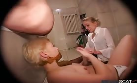 Blonde girls eat wet shit fresh from the ass