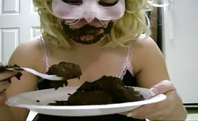 Eating her shit from a plate amateur scat eating